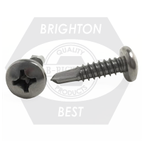 "#10-16x1 1/2"",(FT) FLAT HEAD SQUARE,#3 POINT BSD SELF DRILLING SCREWS HARDENED STAINLESS STEEL 410"