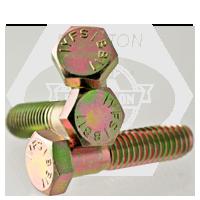"""3/4""""-10x3 3/4"""",(PT) HEX CAP SCREWS GRADE 5 COARSE MED. CARBON ZINC YELLOW CR+6"""