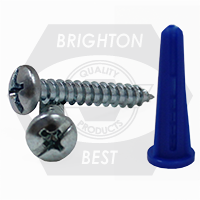 #10-12 PAN HEAD PHIL/SLOT COMBO,KIT BLUE CONICAL PLASTIC ANCHOR KIT
