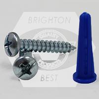 #6-8-10 PAN HEAD PHIL/SLOT COMBO,KIT BLUE CONICAL PLASTIC ANCHOR KIT