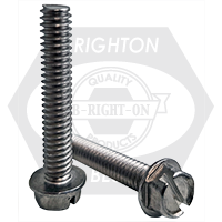 """#10-24x7/16"""",(FT) INDENT HWH SLOT MACHINE SCREW SLOTTED INDENT HEX WASHER HEAD STAINLESS A2 18-8"""