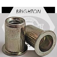 1/4-20 (.027-.165) Steel Large Flange Knurled Body Rivet Nut Zinc Yellow CR+3