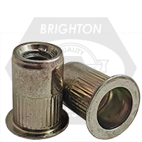 10-32 (.020-.130) Steel Large Flange Knurled Body Rivet Nut Zinc Yellow CR+3