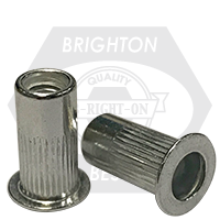 10-32 (.020-.130) Aluminum Large Flange Knurled Body Rivet Nut