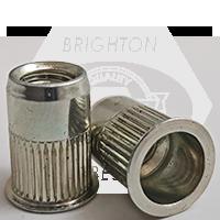 10-24 (.020-.130) Steel Small Flange Knurled Body Rivet Nut Zinc Yellow CR+3