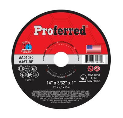 "14"" x 3/32"" x 1"" Type 1 Chop Saw Wheel, A46T ABRASIVE CUT-OFF WHEELS AND CHOP SAW WHEELS"