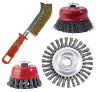 """4"""" KNOTTED CUP CARBON STEEL WIRE BRUSH (.02 Wire & 5/8-11"""" S CARBON WIRE BRUSH"""